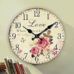 Romantic Roses Clock, 14 Eruner Country Floral Wall ClockLove Wooden Art Decor Non-Ticking Home Decoration(C-62)