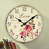 shabby chic kitchens Eruner Rustic Floral Clock Clock, 12-inch Europe Country Style Romantic Sweet Roses Butterfly Shabby Chic Style Large Size Wall Clock Livingroom Bedroom Art Deco(Love,C-62)