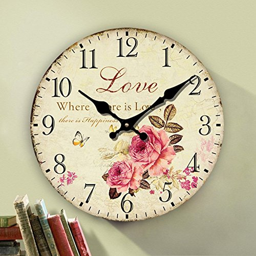 Eruner Rustic Floral Clock Clock, 12-inch Europe Country Style Romantic Sweet Roses Butterfly Shabby Chic Style Large Size Wall Clock Livingroom Bedroom Art Deco(Love,C-62) -