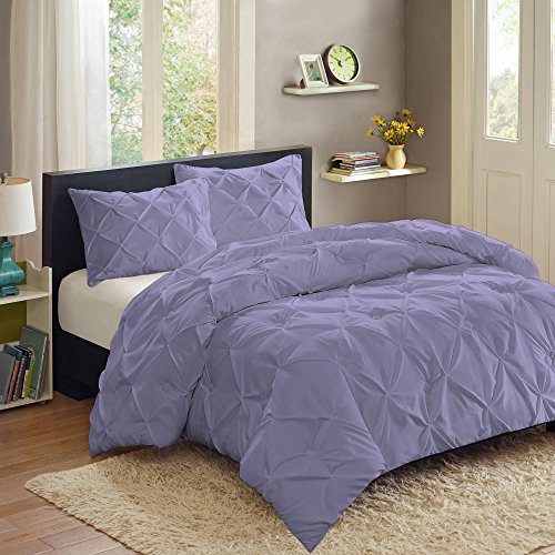 Sweet Home Collection  3 Piece Luxury Pinch Pleat Pintuck Fashion Duvet Set,Lavender,Queen