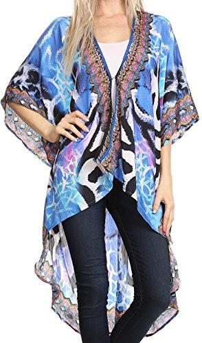 - Sakkas P15 - Osiris Embellished Hi Low V-Neck Clasp Beach Cover-Up Kimono Kaftan Tunic - 17017-Turq - OS