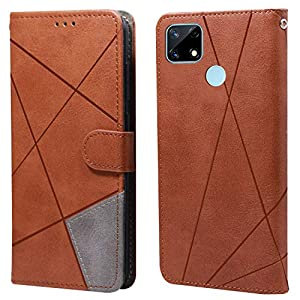 Jkobi Dual Leather Professional Flip Cover Case for Realme Narzo 30A(Golden Brown)