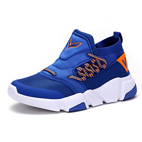 ASHION Boy Girl's Trainers Running Casual Shoes Gym Athletic Fitness Sneakers Breathable Vamp 2-blue