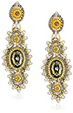 Miguel Ases Soft Pewter Crystal Centered Earrings