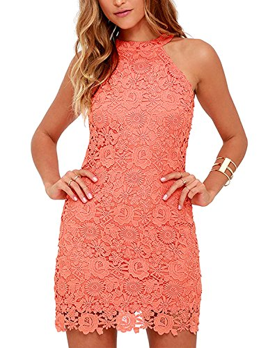 - Lamilus Women's Casual Sleeveless Halter Neck Party Lace Mini Dress (Medium, Coral Orange)
