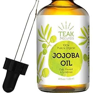 Teak Naturals Organic Cold Pressed Unrefined Jojoba Oil, 4 oz.
