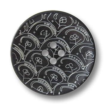 Knopfparadies   6er Set Phantasievolle Schwarz Weiße Vierloch Kunststoff  Knöpfe Mit Ornament Muster In Schüssel Form
