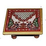 Balaji Arts Handmade Marble Multicolor Pooja Chowki for Idols