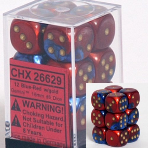 Chessex Dice d6 Sets: Gemini Blue & Red with Gold - 16mm Six Sided Die (12) Block of Dice by Chessex