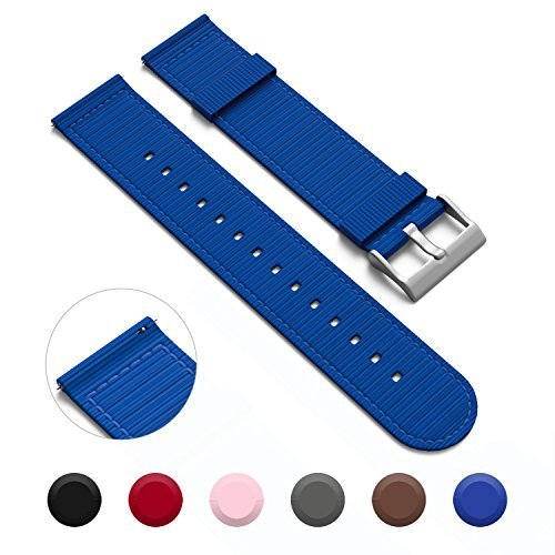 mm Quick Release Watch Bands - NATO Style Two-Piece Watch Straps - 18mm Width - (Electric Blue, 18mm) (Electric Band)