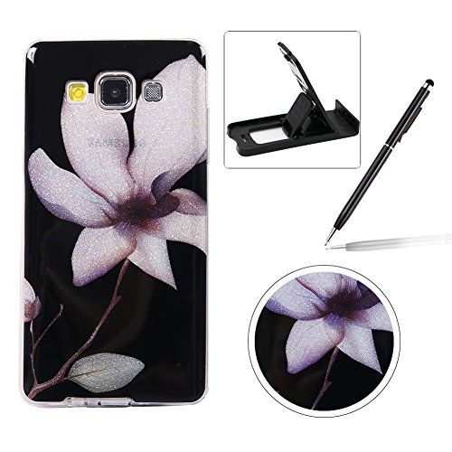 for Samsung Galaxy A3 2015 A300,,Herzzer Ultra Slim Creative [Pretty Lotus Pattern] Bling Sparkly IMD Design Shock-Absorbing Soft Gel Silicone Flexible TPU Case (A300 Cases)