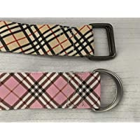 Adjustable D Ring Belt, Plaid Belt, Ribbon Belt, Pink Plaid Belt, Tan Plaid Belt