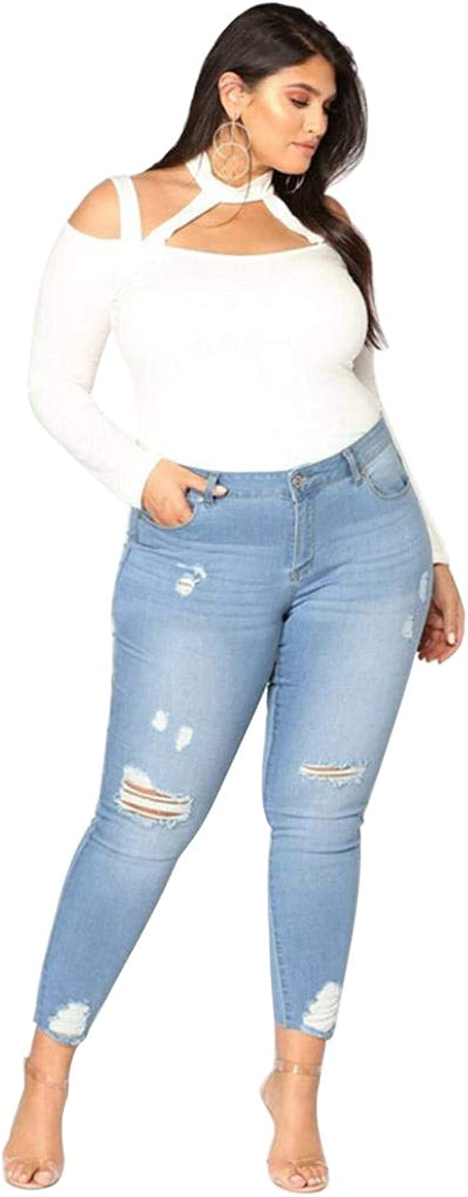 Bestwo Women/'s Distressed Jeans High Waist Ripped Pencil Skinny Legging Jeans