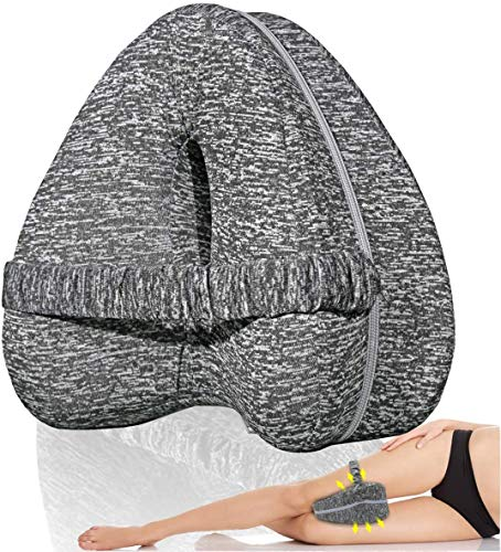 Almohadas posicionadoras de Pierna– Mejor para Pierna, Espalda, y Rodilla Pain- cuna de Espuma con Efecto Memoria Contour Pierna Almohada con Funda extraible (Gris)