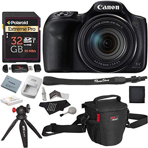 Canon PowerShot SX540 HS with 50x Optical Zoom and Built-in Wi-Fi, Polaroid 32 GB U3 Memory Card, Tripod, Spare Battery, Camera Bag and Accessory Bundle from Canon
