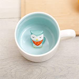 Surprise 3D Coffee Mug Animal Inside 12 oz with Owl,Cute Cartoon Handmade Ceramics Cup,Christmas Birthday Surprise for Friends Family or Kids,Best Office Cups Morning Mugs(12 oz Owl)