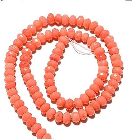 LOVEKUSH Cuentas raras 50 hebras al por mayor Rondell de coral, cuentas de coral, cuentas de coral facetado, perlas de 6 mm, collar de coral rosa, 15 pulgadas StrandCode-RM738