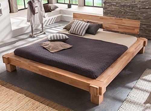 Massivholzbett LUNA Balkenbett In Kernbuche Doppelbett , Größe:200x200:  Amazon.de: Küche U0026 Haushalt