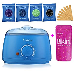 Yansu Waxing Hair Removal Electric Hot Wax Warmer Adjustable Hard/Soft Wax Beans Paraffin Wax Heater with 4 Wax Beans, 10 Waxing Spatulas (blue)