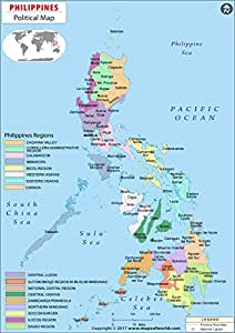"Amazon.com : Philippines Political Map (36"" W x 50.92"" H"