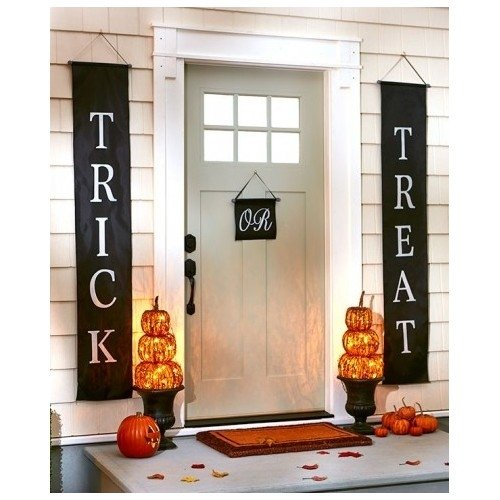 Outdoor Halloween Decorations (Trick or Treat Halloween Banner 3-Pc Set Home or Office Decor Ready To Hang)