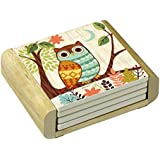 CounterArt Absorbent Coasters in Wooden Holder, Woodland Friends Owl, Set of 4