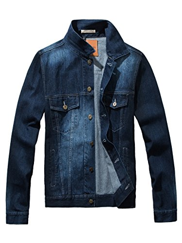 DAVID.ANN Men's Denim Jacket Slim Fit Trucker Coat,Dark Blue,Medium (Dark Denim Jean Jacket)