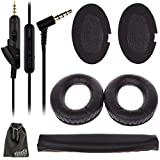 EEEKit for Bose QC15 QC2 QC25 Headphone,Replacement Soft Memory Foam Ear Pad Cushion for QuietComfort 15 2 25 Headset,Extension 3.5mm Audio Cable Cord Wired