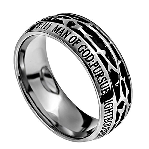 Man of GOD Christian Mens Stainless Steel 10mm Abstinence Crown of Thorns 1 Timothy 6:11 Comfort Fit Chasity Ring - Guys Purity Ring