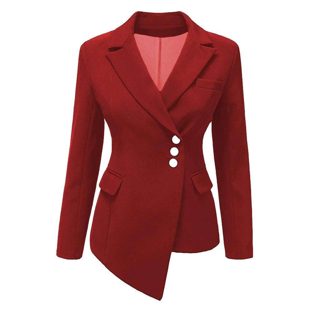 iDWZA Fashion Women Style Long Sleeve Irregular Blazer Elegant Slim Suit Coat(Red,US XS/CN S)