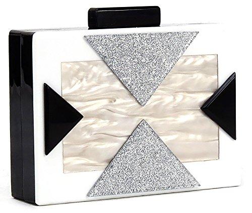 (BG-713-09 Box Clutch Crossbody Chain Hard Case Purse Evening Bag - White)