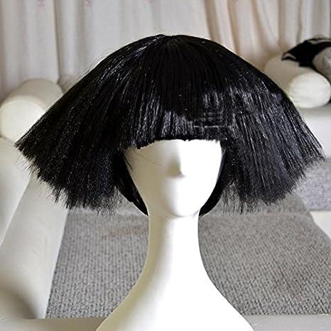 MFFACAI Lady Gaga (Blanco/Negro) Europa y la Peluca de los Estados Unidos, Cabeza Corta de la explosión de - Peluca mullida del DS del Club Nocturno, los 35cm, Black 200g: Amazon.es: Deportes
