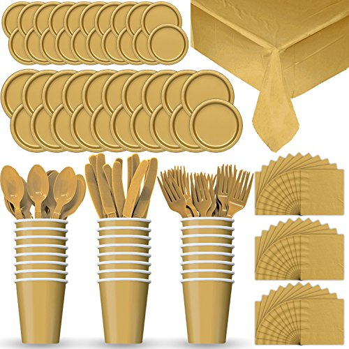 Disposable Paper Dinnerware for 24 - Gold - 2 Size plates, Cups, Napkins , Cutlery (Spoons, Forks, Knives), and tablecovers - Full Party Supply Pack - Party Supplies Warehouse