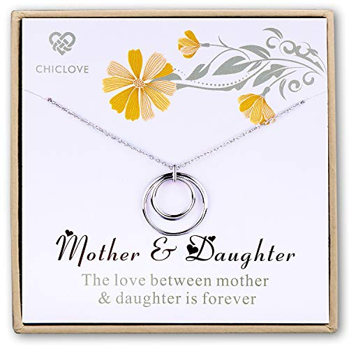 - Double Eternity Hoop Necklace - Mother Daughter Necklace Sterling Silver Double Entwined Circles