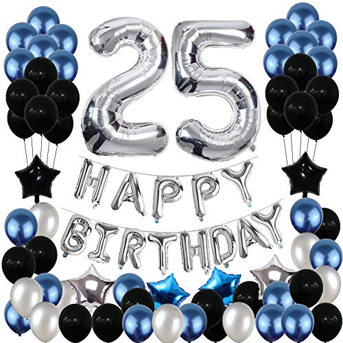 25th Birthday Decorations, Yoart 25 Birthday Party Decoration Balloons Party Supplies Blue and Silver Black Foil Star Balloons for Women Men 81pcs]()