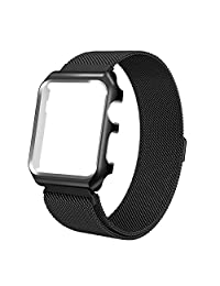 AHXLL Apple Watch Mesh Milanese Loop stainless Steel Replacement iWatch + Metal Protective case for Apple Watch Series 3, Series 2, Series 1, Sport& Edition