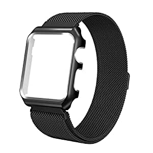 Apple Watch Band 38mm Stainless Steel Milanese Loop replacement Strap Band with Protective Case for iWatch 38mm Series 3 Series 2 Series 1 Sport Nike+ Edition Black
