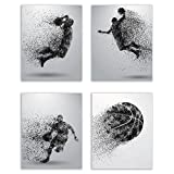 Basketball Wall Art Prints - Particle Silhouette – Set of 4 (8x10) Poster Photos - Bedroom - Man Cave
