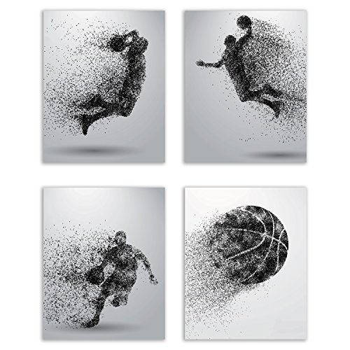 Basketball Wall Art Prints - Particle Silhouette – Set of 4 (8x10) Poster Photos - Bedroom - Man Cave Decor