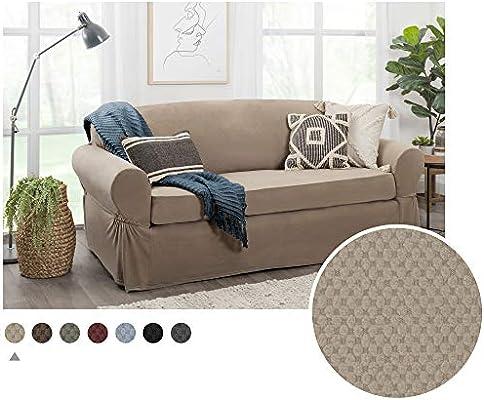 MAYTEX Pixel Ultra Soft Stretch 2 Piece Sofa Furniture Cover Slipcover Choco...