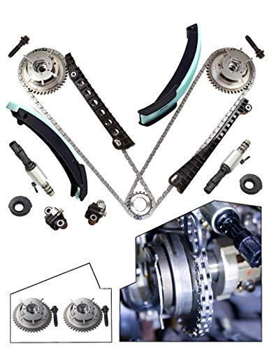 Timing Chain Kit , Cam Phasers, VVT Valves Fits 2004, 2005, 2006, 2007, 2008 5.4L 24 Valve Triton Ford Expedition, F-150, F-250, F-350 Super Duty, Lincoln Mark LT, Navigator ()
