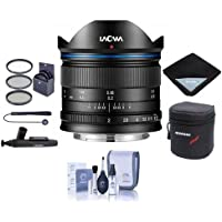Venus Laowa 7.5mm f/2 Lens Lightweight for Micro Four Thirds Mount, Black - Bundle With 46mm Filter Kit, Lens Case, Cleaning Kit, Lens Wrap, Capleash II, LensPen Lens Cleaner