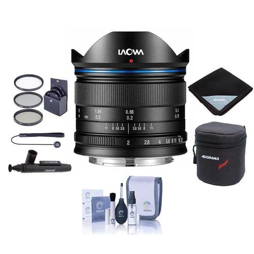Venus Laowa 7.5mm f/2 Lens Lightweight for Micro Four Thirds Mount, Black - Bundle with 46mm Filter Kit, Lens Case, Cleaning Kit, Lens Wrap, Capleash II, LensPen Lens Cleaner by Venus