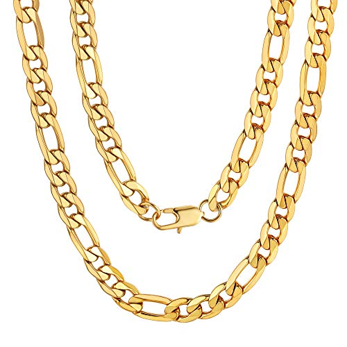 Figaro Diamond-Cut Necklace 316L Stainless Steel Men's Gold Chain