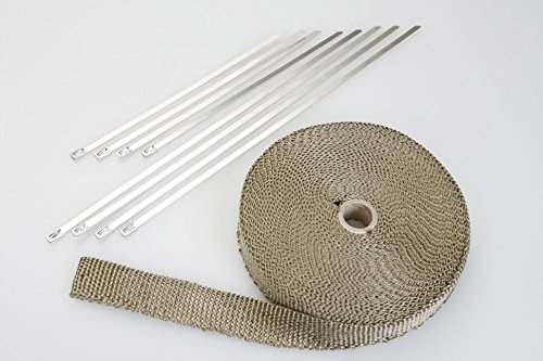 Autobahn88 Racing Kit: Vulcan Titanium Exhaust Wrap Tape (Lava Fiber) for Vehicle Header Manifold, Turbo Outlet, Front Pipe, Down Pipe, Stainless Zip Tie bundled, Length 35 Feet (11m), Width 1""