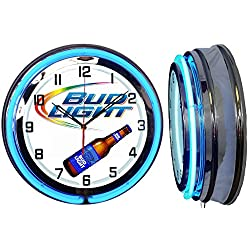 Checkingtime 19 BUD Light Neon Clock, Two Neon Tubes, BLUE Outside Tube