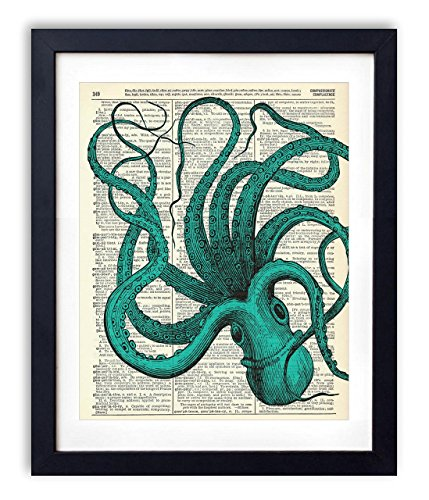 Hand Signed Vintage (Blue Octopus Upcycled Vintage Dictionary Art Print 8x10)