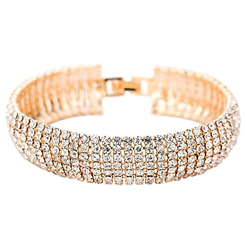 Easthors Top Fashion Women Gold,Silver Plated Beautiful Crystal CZ Layers Bracelet (Gold)