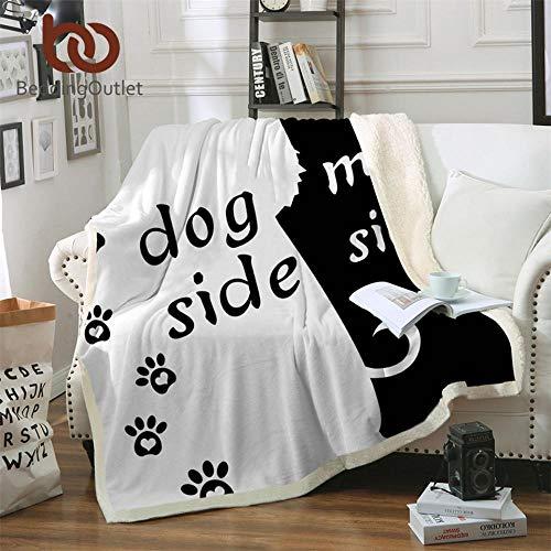- Hakazhi Inc Beddingoutlet Cartoon Microfiber Bed Blanket Black Throw Blanket for Kids Dog Side and My Side Home Textiles Pet Footprint Manta (130cmx150cm)