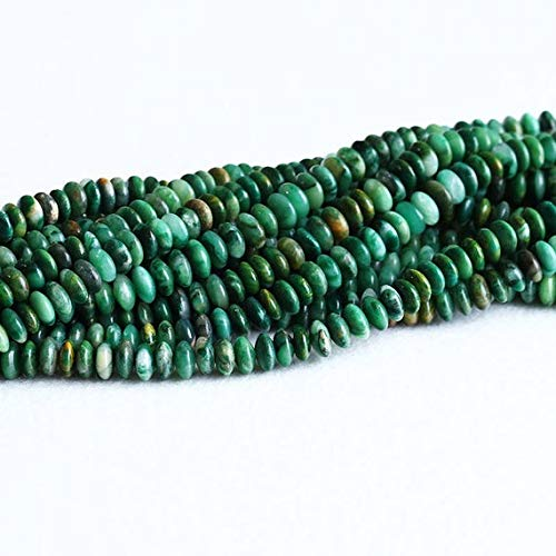 - GemAbyss Beads Gemstone 1 Strands Natural Genuine Dark South African Green Jade Rondelle Loose Beads Size: 4x8mm 15.5 Inch Long 05320 Code-MVG-23041